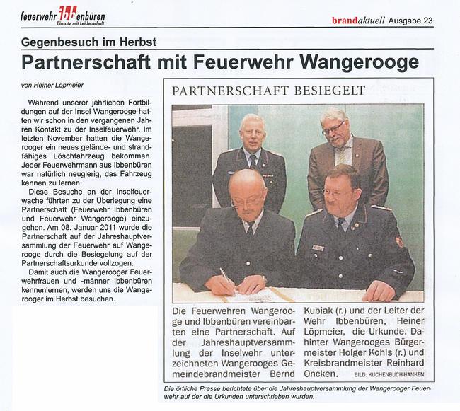 Die Beurkundung der Partnerschaft mit der Feuerwehr Wangerooge
