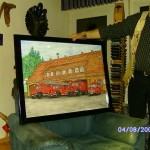 Übergabe des Fahrzeugbildes, handgemalt vom Künstler Manfred Maelger (Kehl) persönlich
